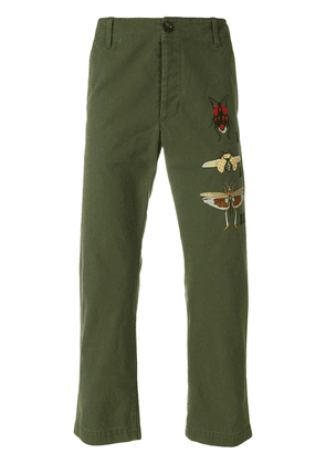 Gucci insect appliquéd chinos - Green