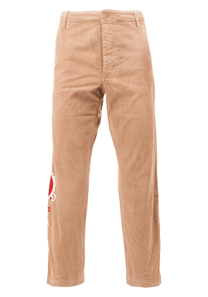 Gucci embroidered dragon chinos - Neutrals