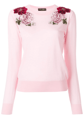 Dolce & Gabbana cashmere rose patch sweater - Pink