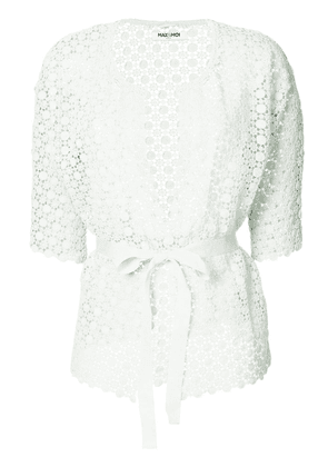Max & Moi openwork lace belted cardigan - Green
