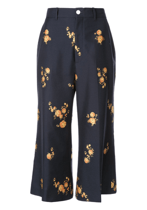 Gucci floral tailored cropped trousers - Blue