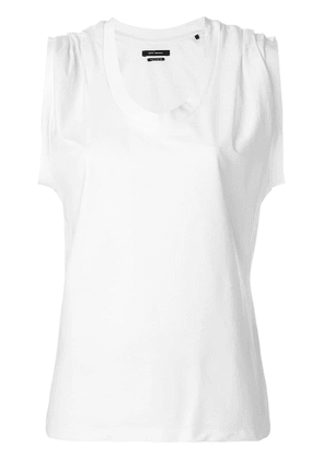 Isabel Marant ruched shoulder scoop neck sleeveless top - White