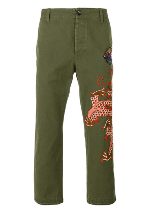 Gucci military embroidered dragon trousers - Green