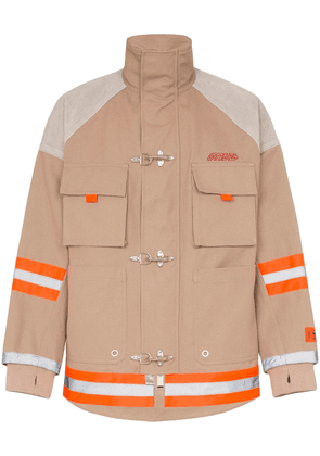 Heron Preston fireman tape suede cotton jacket - Neutrals