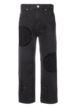 Isabel Marant perforated cropped jeans - Black