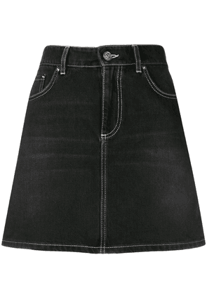 Ganni washed denim skirt - Black