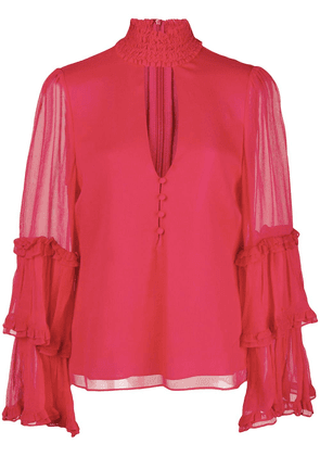 Alexis ruffle-trimmed blouse - Red