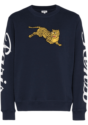 Kenzo jumping tiger embroidered logo print cotton sweatshirt - Blue