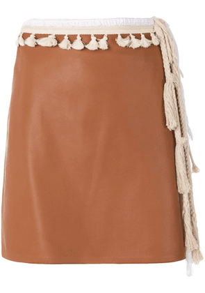 Loewe tasselled straight mini skirt - Brown