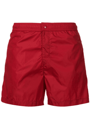 Moncler side stripe swim shorts - Red