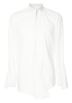 A New Cross neck tie detail shirt - White