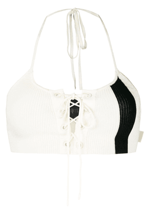 Puma lace-up halterneck cropped top - White