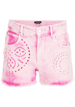 Isabel Marant perforated denim shorts - Pink