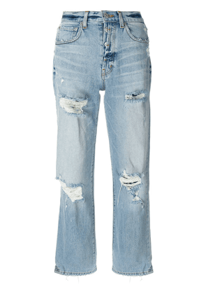 Adaptation distressed relaxed fit cropped jeans - Blue