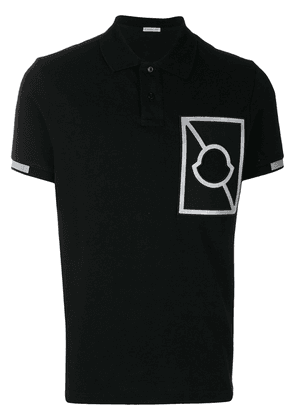 Moncler embroidered detail polo shirt - Black