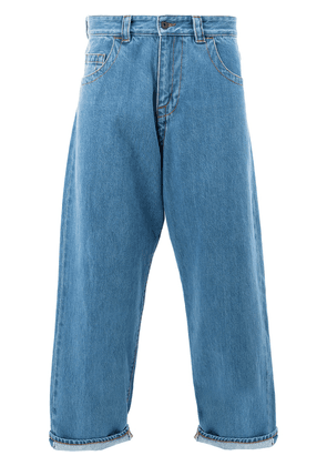 Craig Green bleached cropped wide leg jeans - Blue