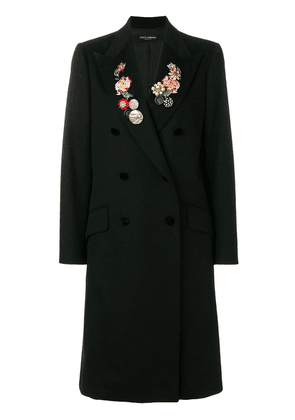 Dolce & Gabbana double-breasted floral embroidered coat - Black
