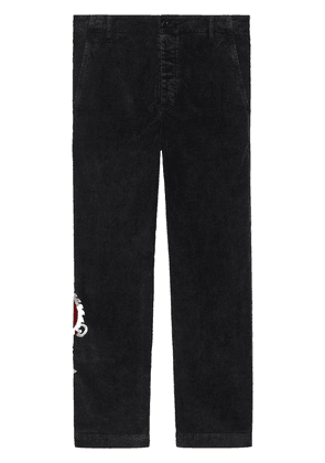 Gucci Marbled corduroy chino with dragon - Black
