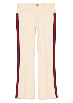 Gucci Denim flare pant with Web - White