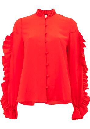 Alexis long sleeved ruffle blouse - Red
