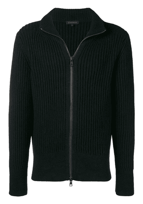 Ann Demeulemeester rib knit zipped sweatshirt - Black