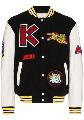 Kenzo logo dragon embroidered wool blend varsity jacket - Black