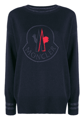 Moncler logo patch sweater - Blue
