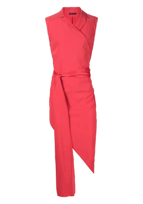 Baja East tie waist asymmetric hem top - Red