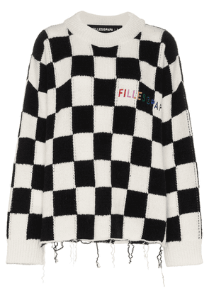 Filles A Papa Checked logo embroidered wool sweatshirt - Black