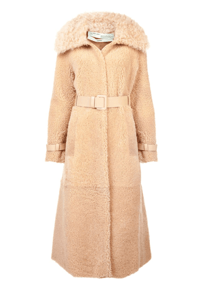 Off-White belted shearling coat - Brown