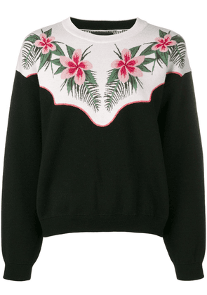 Alanui floral embroidered sweater - Black