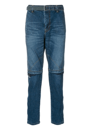 Sacai belted slim-fit jeans - Blue