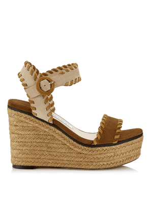 ABIGAIL 100 Natural Mix Suede Chunky Wedges with Whipstitching