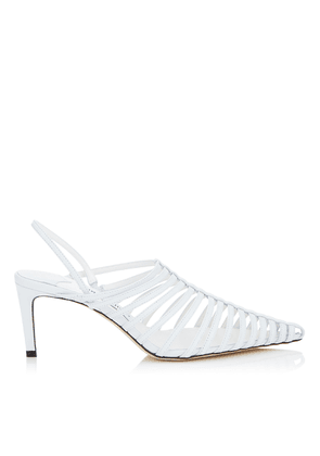 THU 65 White Nappa Leather Sling Back Heel with Horizontal Straps