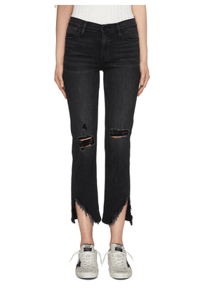 'Le High Straight' ripped staggered raw cuff jeans