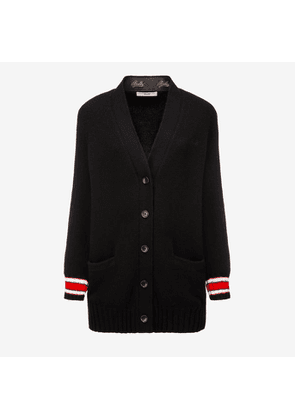 Bally Wool-Cashmere Long Cardigan Black, Women's wool and cashmere blend cardigan in black