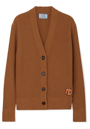 Prada - Appliquéd Ribbed Wool And Cashmere-blend Cardigan - Brown