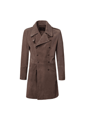 Chocolate Brown Eastwood Double-Breasted Suede Coat