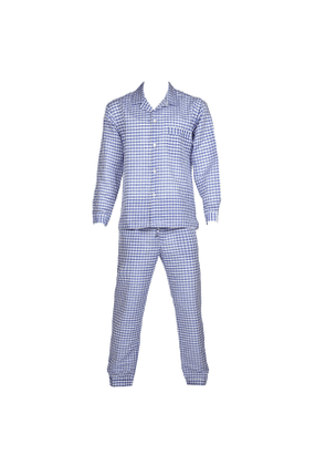 Rubinacci Blue And White Linen And Cotton Pyjamas