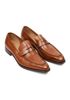 George Cleverley Tan Burnished Leather George Penny Loafers