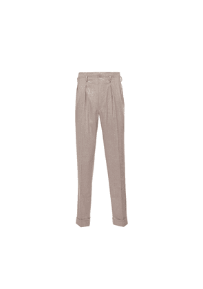 Biscuit Brown Hollywood Top Pleated Wool Trousers