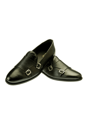 Belsire Black Tancredi Hammered Leather Double Monk Strap Shoes