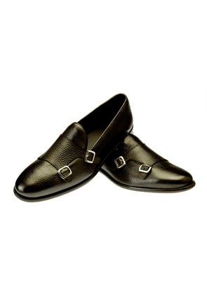 Belsire Brown Tancredi Hammered Leather Double Monk Strap Shoes