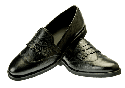 Belsire Black Leone Fringe Hammered Leather Loafers