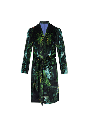 New & Lingwood Dark Green Tropical Pattern Velvet Dressing Gown