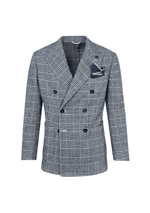 G. Inglese Blue Wool Double-Breasted Galles Prince of Wales Check Jacket