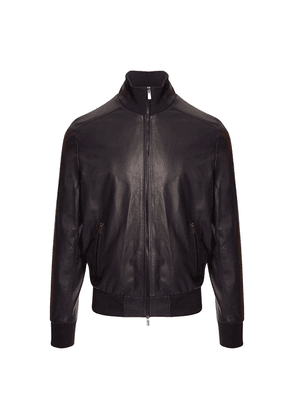Belsire Navy Leather Biker Jacket