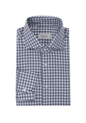 Cifonelli Charcoal and White Gingham Spread Collar Cotton Shirt