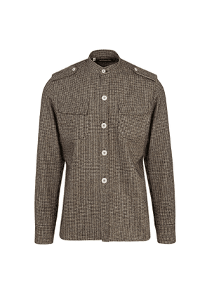 G. Inglese Brown Wool Flannel Houndstooth Over-Shirt