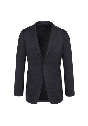 Z Zegna Dark Grey Wool Single-Breasted Two-Piece Suit with Draw-String Trousers